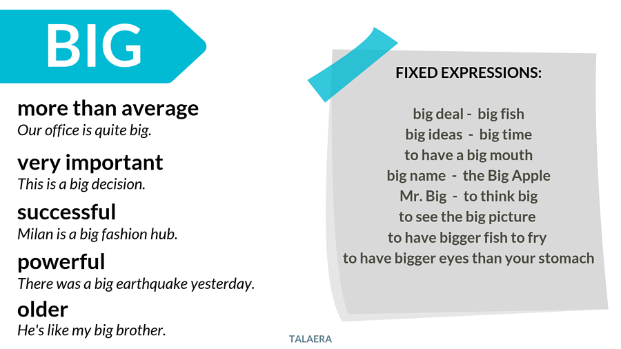 Big vs large - when to use big - Talaera