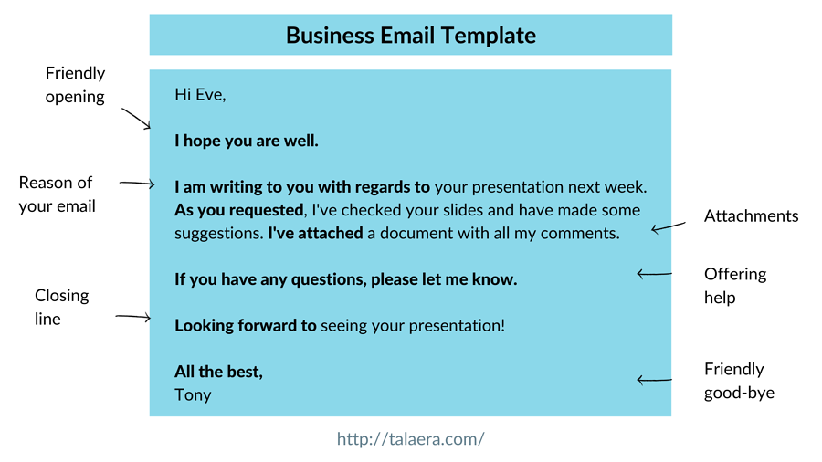Business Email Template Talaera Training