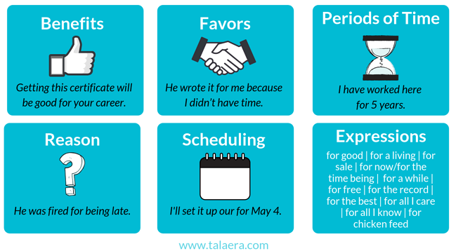 When to use the preposition FOR - Talaera tips
